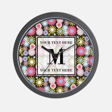 Floral Pattern with Custom Monogram Wall Clock
