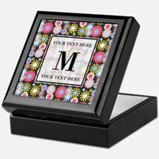 Floral Pattern with Custom Monogram Keepsake Box