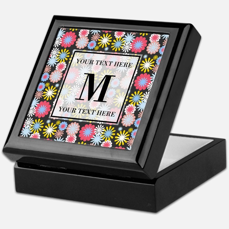 Floral Pattern with Custom Monogram Keepsake Box