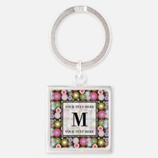 Floral Pattern with Custom Monogra Square Keychain