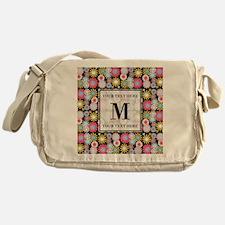 Floral Pattern with Custom Monogram Messenger Bag