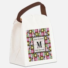 Floral Pattern with Custom Monogr Canvas Lunch Bag