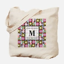 Floral Pattern with Custom Monogram Tote Bag