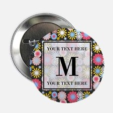 """Floral Pattern with Custom Monogram 2.25"""" Button"""