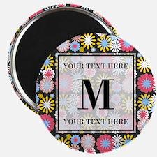 Floral Pattern with Custom Monogram Magnet