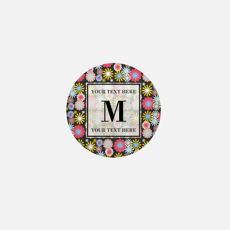 Floral Pattern with Custom Monogram Mini Button