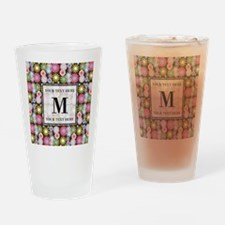 Floral Pattern with Custom Monogram Drinking Glass