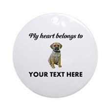 Personalized Puggle Ornament (Round)