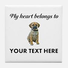 Personalized Puggle Tile Coaster