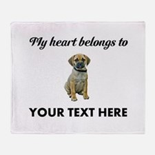 Personalized Puggle Throw Blanket