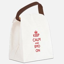 Keep Calm and Emo ON Canvas Lunch Bag