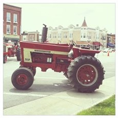 Tractor on the Town Square Poster