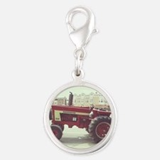 Tractor on the Town Square Silver Round Charm