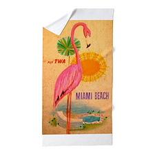 Miami Beach Pink Flamingo Vintage Travel Poster Be