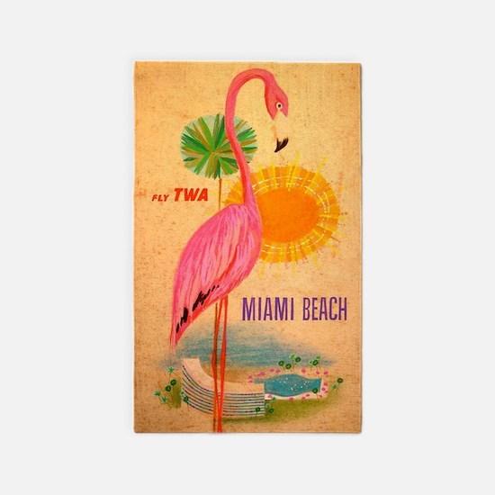 Miami Beach Pink Flamingo Vintage Travel Area Rug