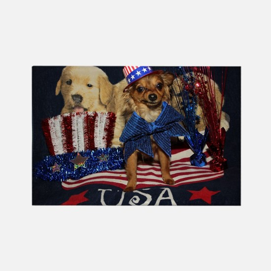 Patriotic Pooch Rectangle Magnet
