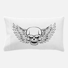 Winged Skull Black Pillow Case