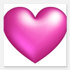 """Pink Balloon Heart Square Car Magnet 3"""" x 3"""""""
