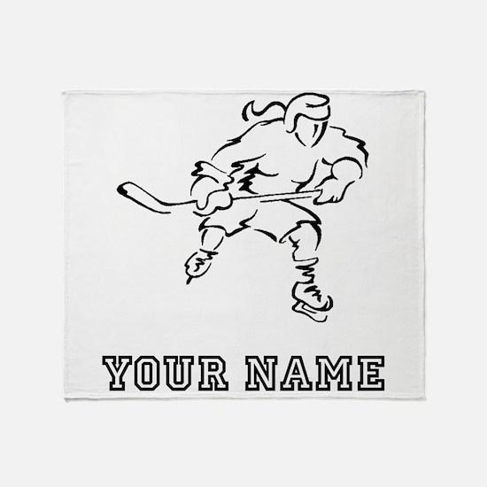 Girl Hockey Player (Custom) Throw Blanket
