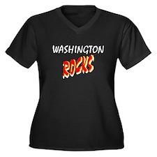 WASHINGTON ROCKS Women's Plus Size V-Neck Dark T-S