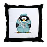 Surgeon Penguin Throw Pillow