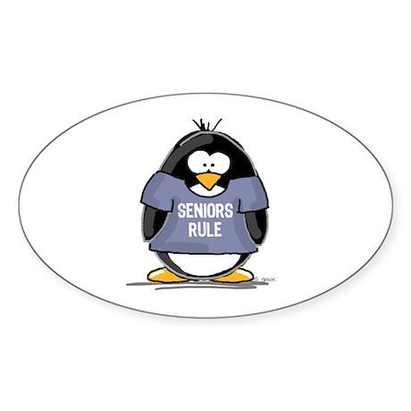 Seniors Rule penguin Oval Sticker