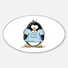 Proud Poppa penguin Oval Decal