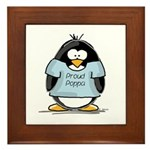 Proud Poppa penguin Framed Tile