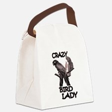 Crazy Bird Lady Canvas Lunch Bag