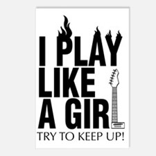i play like a girl try to Postcards (Package of 8)