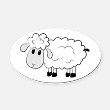 Sheep Oval Car Magnet