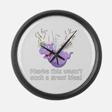 Funny Purple hippos Large Wall Clock