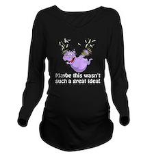 Purple hippos Long Sleeve Maternity T-Shirt