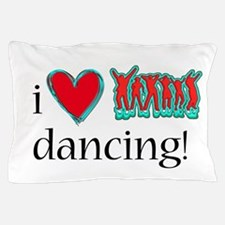 i love neon dancing over white backgro Pillow Case