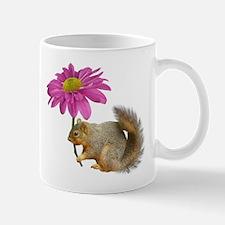 Squirrel Pink Flower Mugs