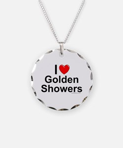 Golden Showers Necklace Circle Charm