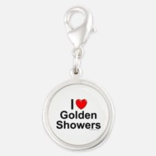 Golden Showers Silver Round Charm