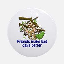 Funny Friends helping friends Round Ornament