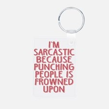 Punching People is Frowned Keychains