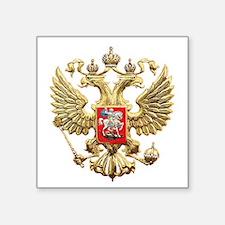 "Russian Federation Coat of Square Sticker 3"" x 3"""