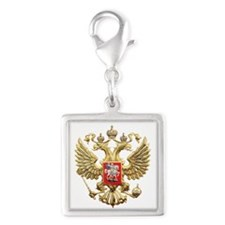 Russian Federation Coat of Ar Silver Square Charm