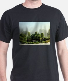 Garden in mist, Arzua,Spain T-Shirt