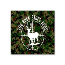 "Buck Stops Here Square Sticker 3"" x 3"""