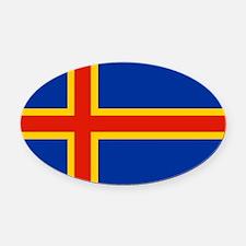 Square Aland Islands Flag Oval Car Magnet
