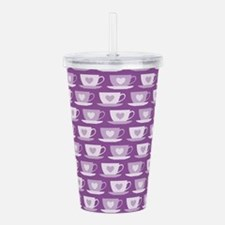 Tea Cups with Hearts - Acrylic Double-wall Tumbler