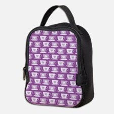 Tea Cups with Hearts - Purple Neoprene Lunch Bag