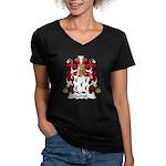 Calvet Family Crest Women's V-Neck Dark T-Shirt