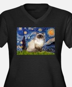 Starry Night Himalayan cat Women's Plus Size V-Nec