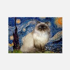 Starry Night Himalayan cat Rectangle Magnet