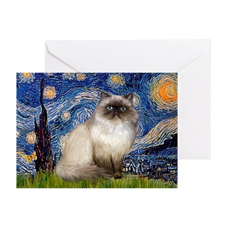 Starry Night Himalayan cat Greeting Cards (Pk of 2
